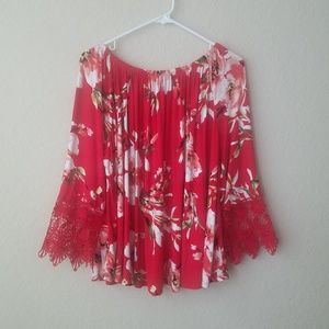 Liberty love red floral lace trim top size 1XL